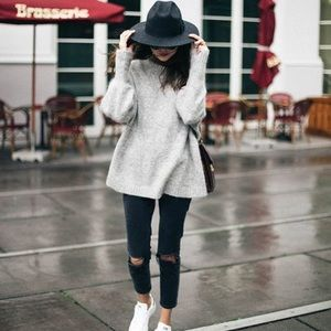 Sweaters - Grey oversized sweater